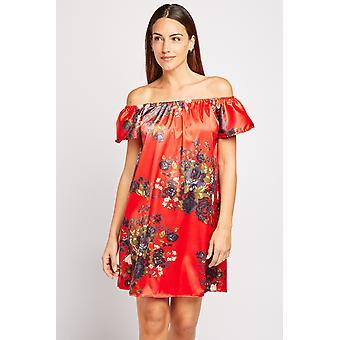 Flower Print Sateen Off Shoulder Dress
