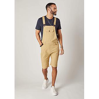 Jesse mens slim fit cotton dungaree shorts - sand