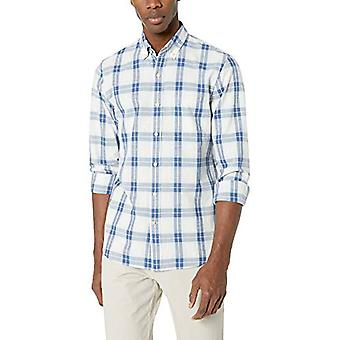Goodthreads Men's Slim-Fit Long-Sleeve Plaid Chambray Camicia, Bianco Azzurro...