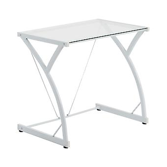 Glass Laptop Desk Computer Home Office University Student Study Z Table - White