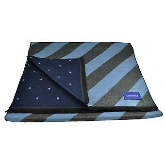 Ties Planet Lupi Romani Light Blue & Grey Striped & Navy & Light Blue Polka Dot Patterned Double Face Scarf