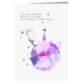 Der kleine Prinz Purples Paint Effect Herz Zitat Grußkarte