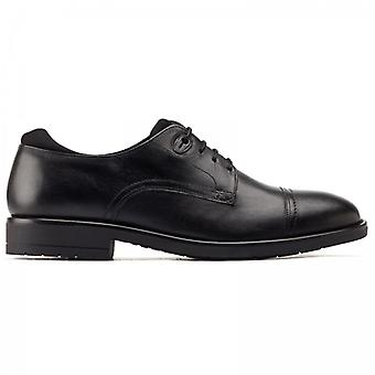 Base London Raven Mens Leather Derby Shoes Black