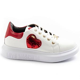 Women's Love Moschino Bianche Sneaker met Sequin Heart