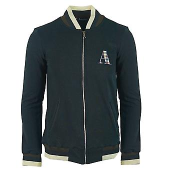 Aquascutum A Logo Zip Sweater Black Jacket