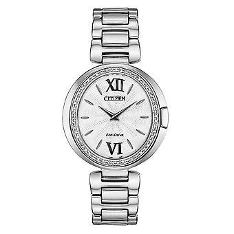 Citizen Ex1500-52a Damski zegarek z napędem ekologicznym Capella Diamond Silver Ze stali nierdzewnej