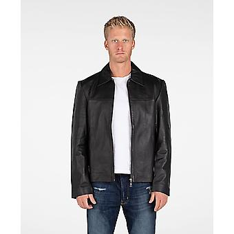 Mens Classic Zip Up Leather Jacket