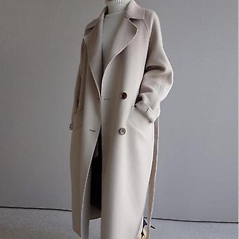 Winter Beige Elegant Wool Blend Women Korean Fashion Black Long Coats