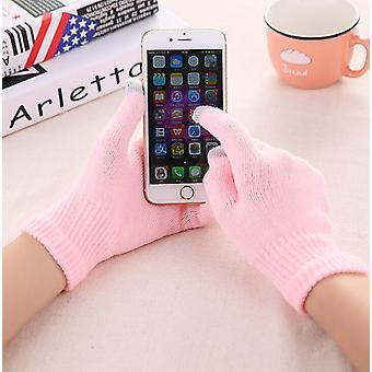 Women's Cashmere Wool Knitted Winter Warm Thick Touch Screen Gloves