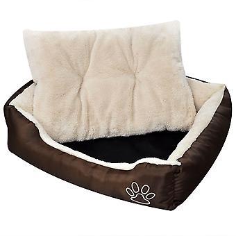 سرير الكلب مع المفروشات الناعمة حجم M براون
