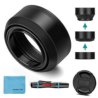 49Mm lens hood,fotover universal collapsible rubber lens hood sun shade with centre pinch lens cap f