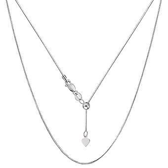 "14k White Gold Adjustable Octagonal Snake Chain Necklace, 0.85mm, 22"""