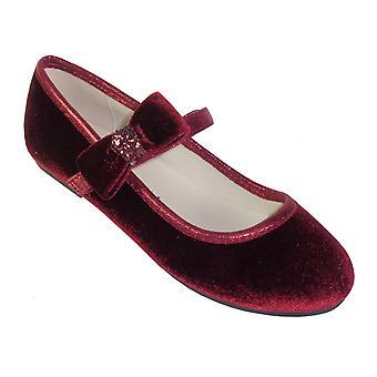 Jenter mørk rød fløyel ballerina fest sko