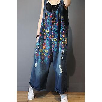 נשים ג'ינס סרבלים להדפיס פרחוני וינטאג' מזדמנים באיכות גבוהה קרע חור