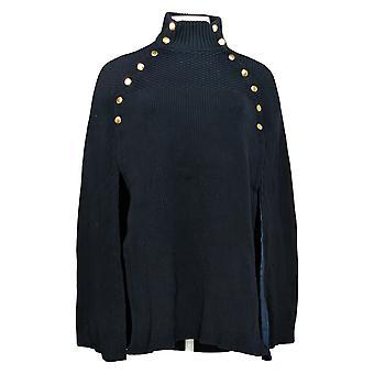 G.I.L.I. tem que amá-lo Women's Sweater Cape c/ Button Blue A368018