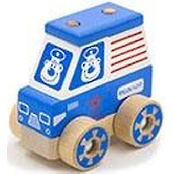 """Alatoys Wooden  Constructor-Push&Pull """"Police cruiser""""small"""