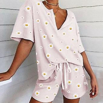 V Neck Floral Print Loose Women Set Short Sleeve Top Shirt And Shorts