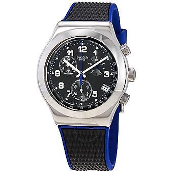 Swatch Geheime Mission Chronograph Quarz schwarzes Zifferblatt Herrenuhr YVS451