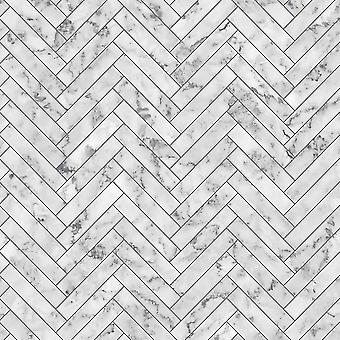 Marble Chevron White Wallpaper