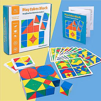 HanFei Holzwrfel Spielzeug, Holzmuster Blcke Bunte Hlzerne Intelligenz Puzzle Montessori Spielzeug