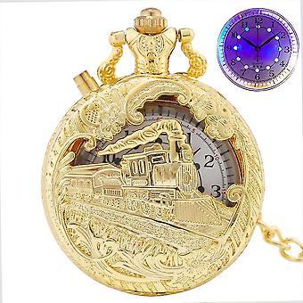 Luxury Gold Luminous Led Quartz Pocket Watch/women