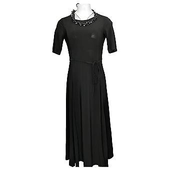 Nina Leonard Dress Soft Swing Trapeze Dress Short Sleeve Black 643206