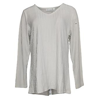 Susan Graver Women's Top SzM Ribbed Sweater Tunic w/Hi-LowHem Ivory A367767