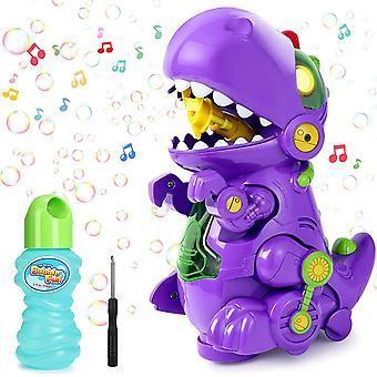 FengChun Seifenblasenmaschine, Blasenmaschine mit Musik Licht, Dinosaurier Automatische Seifenblasenblasen