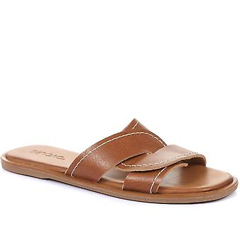 Inuovo Womens Asia Leather Slider Sandals