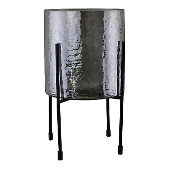 Linterna de vela de vidrio gris en el soporte, grande