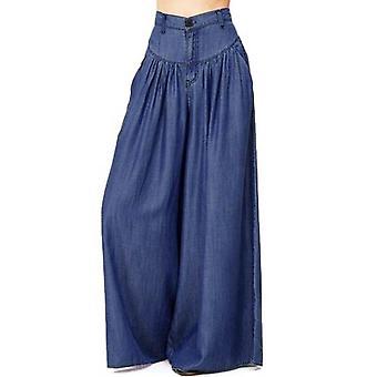 Perna larga casual cor pura bolso calças baggy calças