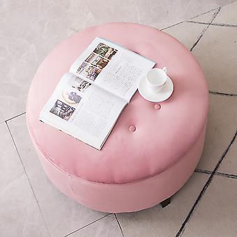 70CM Round Pink Velvet Storage Footstool