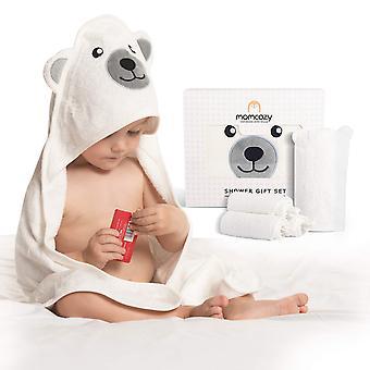 Bambus Baby Badetücher Set 5er Pack, Babyhandtuch mit Kapuze 1 Stück, Baby Waschlappen 3 Stück, Baby