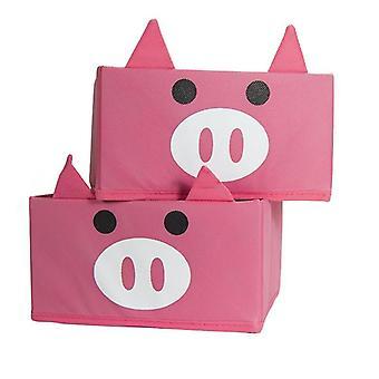JOCCA Children's Storage Boxes - Pig Design,  Set of 2
