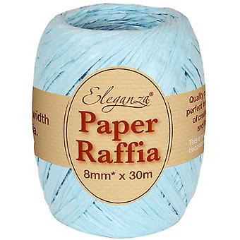 Lyseblå 8 mm x 30 m papir Raffia båndrull - resirkulerbar og biologisk nedbrytbar