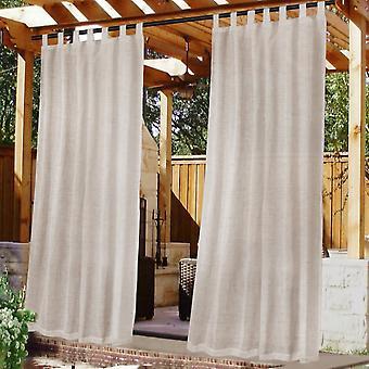 Rideaux de linge d'extérieur pour patio imperméable à l'eau avec auto-stick détachable, naturel