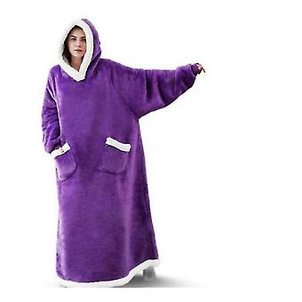 Vertical Pocket Stand Collar Hooded Lazy Blanket Flannel Lamb Couple Pajamas(Purple)
