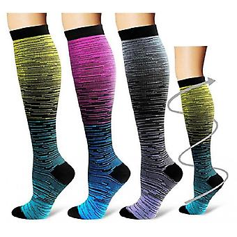 Compression Socks, Outdoor Sports Running Stockings, Gradient Mixed Color Knee High Sock