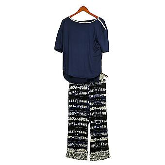 Cuddl Duds Women's Cool & Airy Printed Cropped Pajama Set Blue A373980