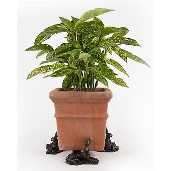 Potty Feet Large Resting Hare Themed Plant Pot Feet Antique Bronze Color 3pc