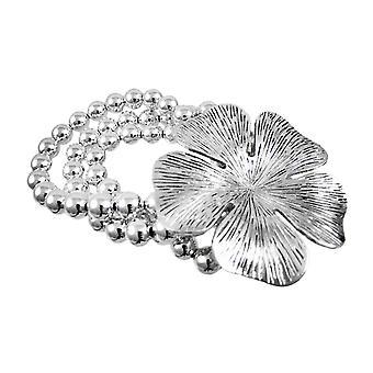 Chrome Hibiscus bloem zilverkleurige rand Stretch armband