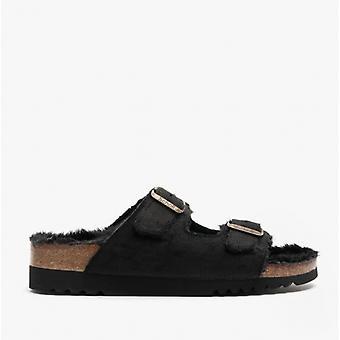 Scholl Missy Ladies Suede Mule Sandals Black