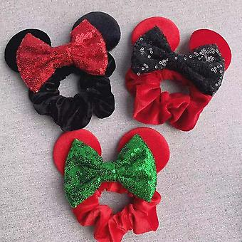 3pcs Girls Scrunchies Elastic Rubber Sparkle Bow Cute Hair Band Tie Rope Ponytail Holder