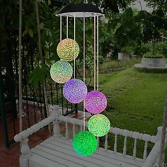 Wind chimes illuminated outdoor solar-powered hanging wind chime