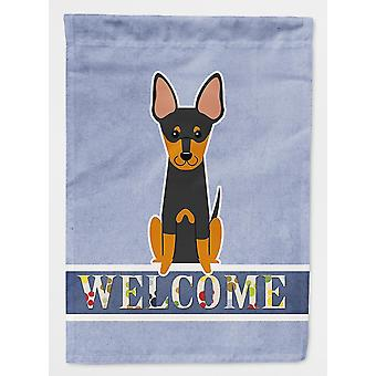 Flags windsocks carolines treasures bb5690gf english toy terrier welcome flag garden size