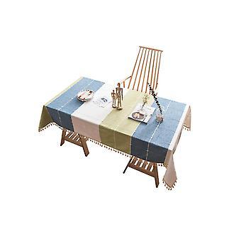 Computer racks mounts tassel tablecloth heavyweight cotton linen table cover - white green blue white green blue 140*220cm