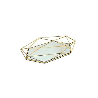Plateau de rangement en métal de style scandinave avec motif géométrique (or)