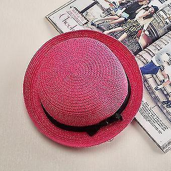 Damen Panama Sommer Strandmütze (56-58cm)(Pflaume Rot 2)