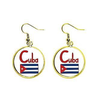 Cuba Drapeau National Rouge Bleu Motif Oreille Pendent Golden Drop Boucle d'Oreille Bijoux Femme