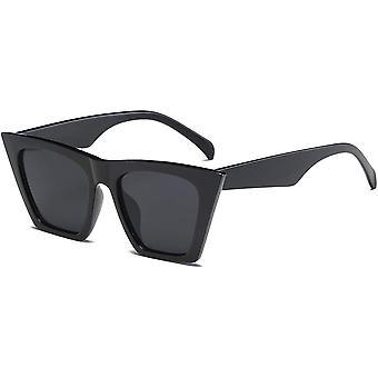 Vintage Square Cat Eye Sunglasses For Women Trendy Cateye Sunglasses (black)